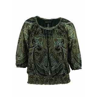 INC International Concepts Women's Smocked Peasant Top - dragon paisley - pxs