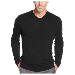 John Ashford VNeck Sweater Deep Black Solid Soft Pullover