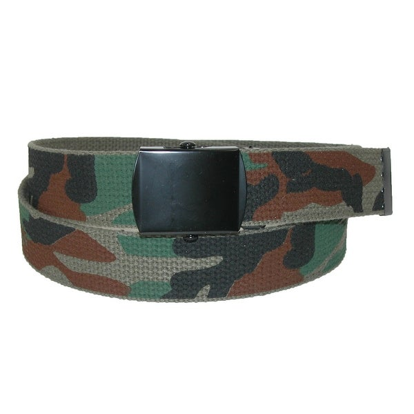 CTM® Men's Big & Tall Fabric Adjustable Belt with Woodland Camo Print