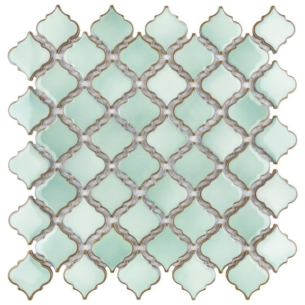 SomerTile 12.375x12.5-inch Antaeus Mint Green Porcelain Mosaic Floor and Wall Tile (10 tiles/10.7 sqft.). Opens flyout.