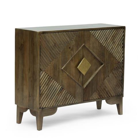 "Kolczak Boho Handcrafted Mango Wood 2 Door Cabinet by Christopher Knight Home - 35.00"" L x 12.00"" W x 26.50"" H"