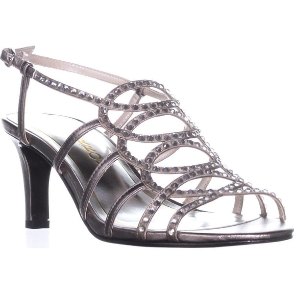 Caparros A-List Strappy Rhinestone Dress Sandals, Mushroom Metallic - 6 us