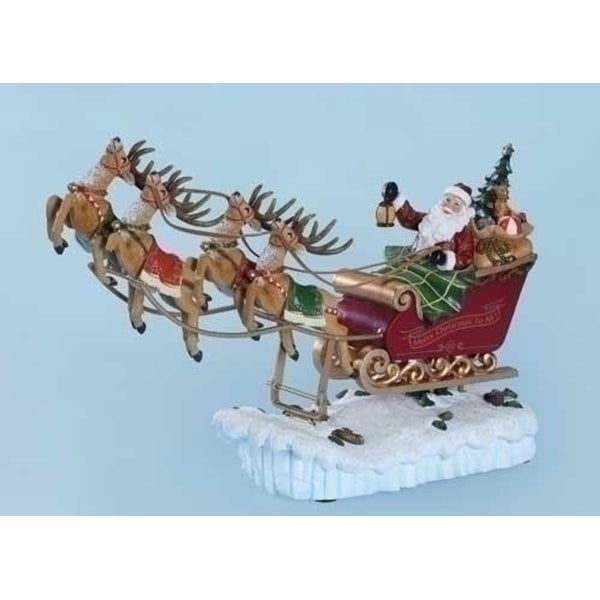 "15"" Amusements Musical ""We Wish You A Merry Christmas"" Rocking Santa and Sleigh Decoration"