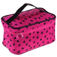 Unique Bargains Lady Zipper Closure Traveling Toiletries Cosmetic Makeup Bag Purse Holder Tool w Mirror