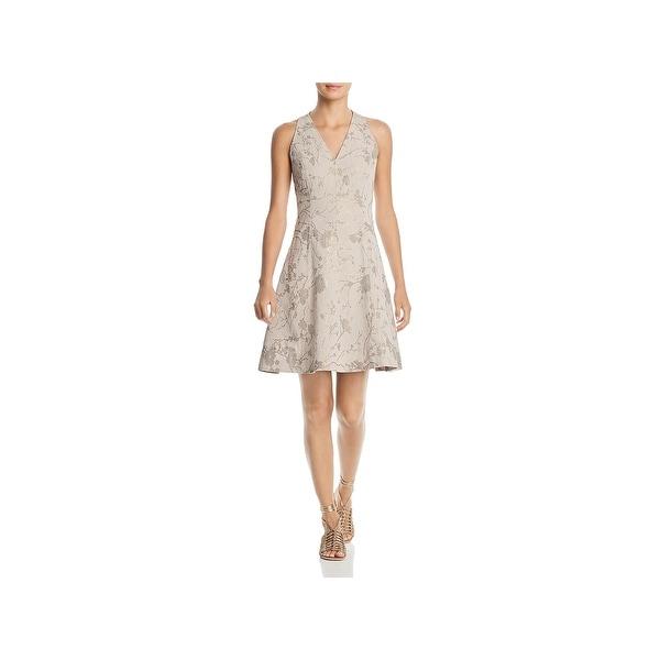 T Tahari Womens Annalise Cocktail Dress Metallic Knee-Length