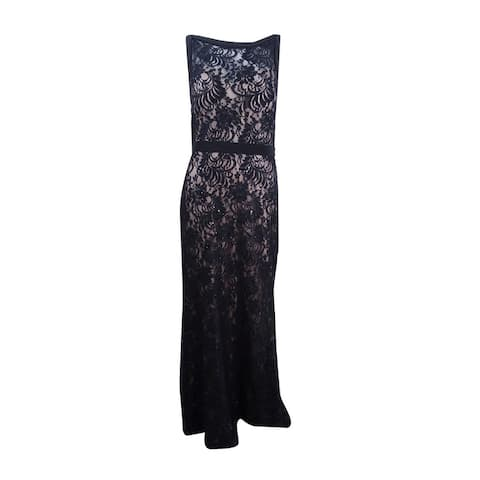 Nightway Women's Plus Size Illusion Sequined Lace Train Gown (16W, Black/Nude) - Black/Nude - 16W