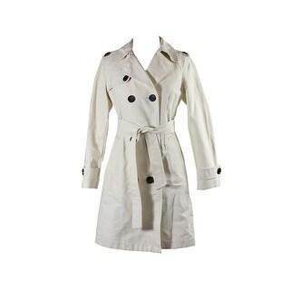 Anne Klein Petite Ivory Button-Front Walker Coat P - 10P
