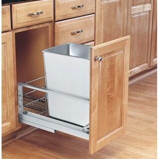 Rev-A-Shelf 5349-15DM-1SS 5349 Series Bottom Mount Single Bin Trash Can Full Extension Slides - 32 Quart Capacity
