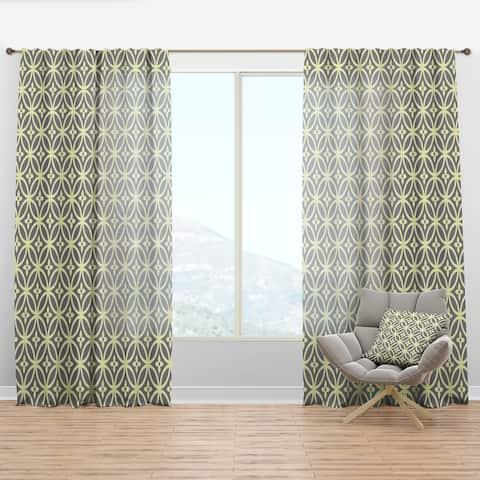 Designart 'Retro Ornamental Pattern II' Mid-Century Modern Curtain Panel