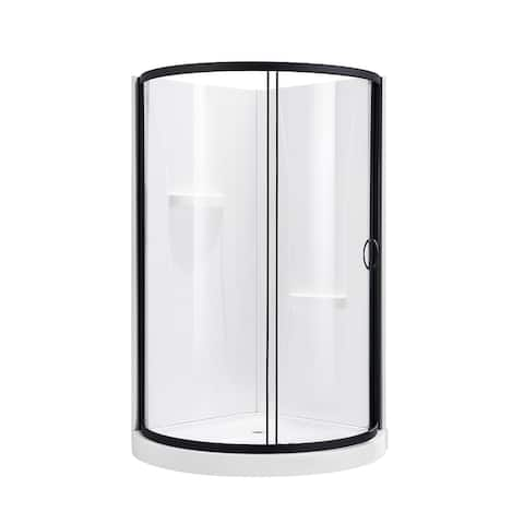 OVE Decors Breeze 36 in. Black Shower Kit with Clear Glass Panels, Walls and Base included