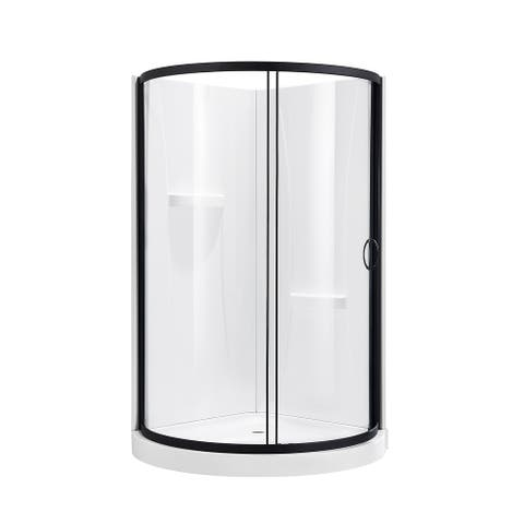 OVE Decors Breeze 38 in. Black Shower Kit with Clear Glass Panels, Walls and Base included