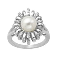 8 mm Freshwater Pearl Ring with Diamonds in Sterling Silver