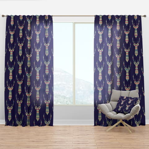 Designart 'Colorful Decorative Ethnic Pattern with Deer' Modern & Contemporary Curtain Panel
