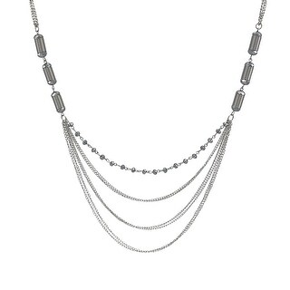 40 In. Chrome Swag Necklace with Faceted Silver Accents