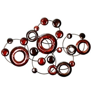 Red Metallic Circles Wall Decor