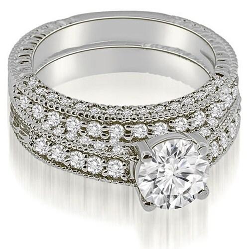 1.63 cttw. 14K White Gold Antique Milgrain Round Cut Diamond Bridal Set