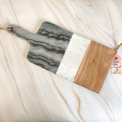 "GAURI KOHLI Mayan Marble & Wood Board (19.5""x8"") - 19.5"" X 8"""