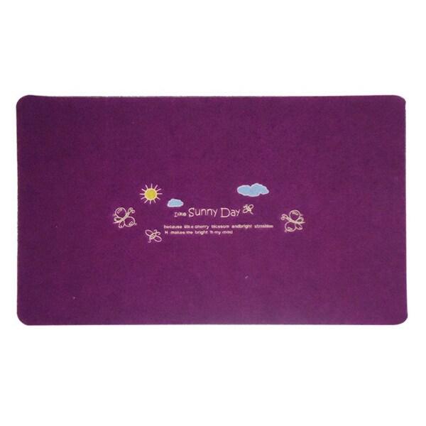 Embroidery Clover Foot Ground Floor Door Mat Carpet - purple