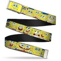 SpongeBob Face Close Up Fcg  Chrome SpongeBob Expressions Stripe Blue Web Belt