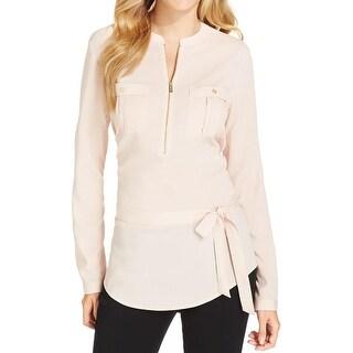 Calvin Klein Womens Blouse Zip Front Adjustable Sleeves