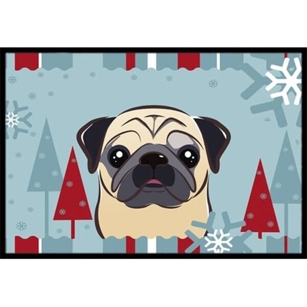 Carolines Treasures BB1758JMAT Winter Holiday Fawn Pug Indoor & Outdoor Mat 24 x 36 in.