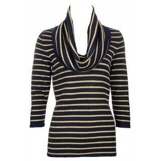 Sutton Studio Womens Gold Stripe Cowl-neck Tunic Blouse Misses