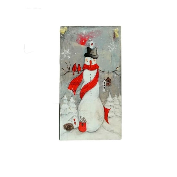 "6.25"" Country Cabin Whimsical Snowman Plaque Christmas Ornament - WHITE"