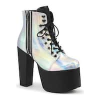 Demonia Women's Torment 712 Ankle Boot Silver Hologram Vegan Leather