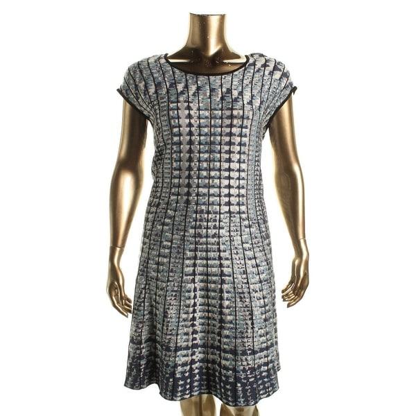 Nic + Zoe Womens Plus Checked Out Sweaterdress Pattern Twirl