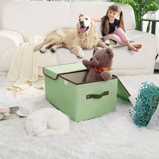 """Larger Foldable Storage Box Bin Basket Cubes with Lid Handles Removable Divider - 17.7"""" x 11.8"""" x 9.8"""""""