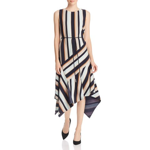 Lafayette 148 New York Womens Marnie Midi Dress Striped Sleeveless - Ink Multi