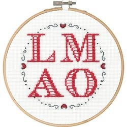 """6"""" Round 14 Count - Say It! L-M-A-O Counted Cross Stitch Kit"""