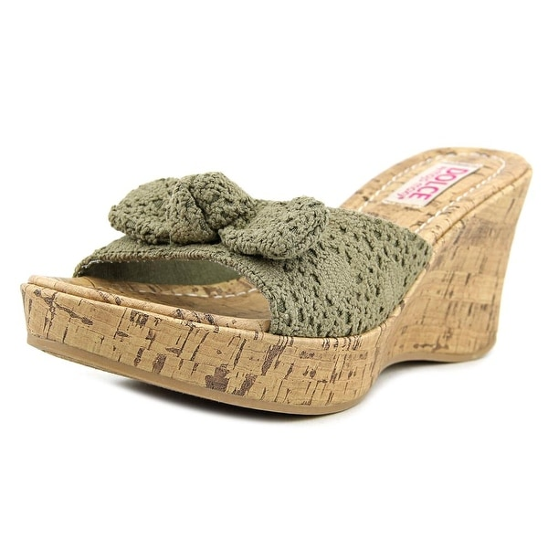 Dolce by Mojo Moxy Piper Women Open Toe Canvas Brown Wedge Sandal