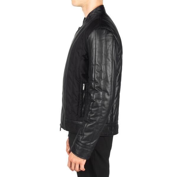 c69d6927 Shop Fendi Men's Leather Zip Up Jacket Black - Free Shipping Today ...