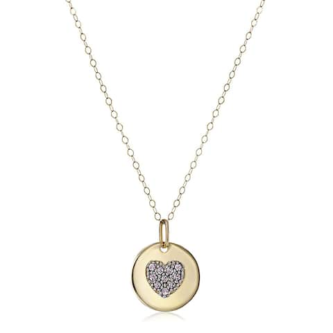 "Crystaluxe June Heart Disc Pendant with Lavender Swarovski Crystals in 14K Gold, 18"" - Purple"