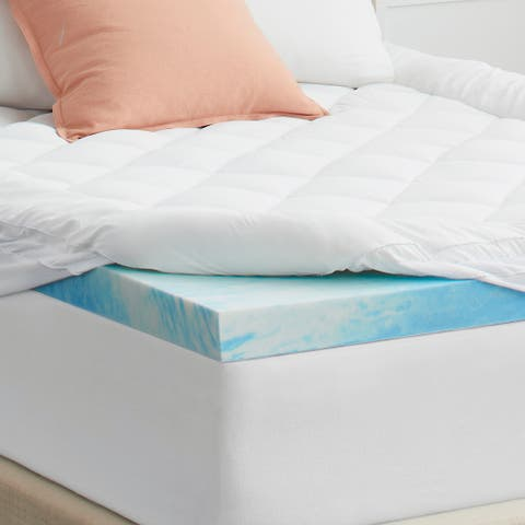 "4"" SealyChill Gel + Comfort Memory Foam Mattress Topper with Pillowtop Cover"