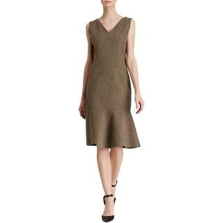 Elie Tahari Womens Wear to Work Dress V-Neck Heathered