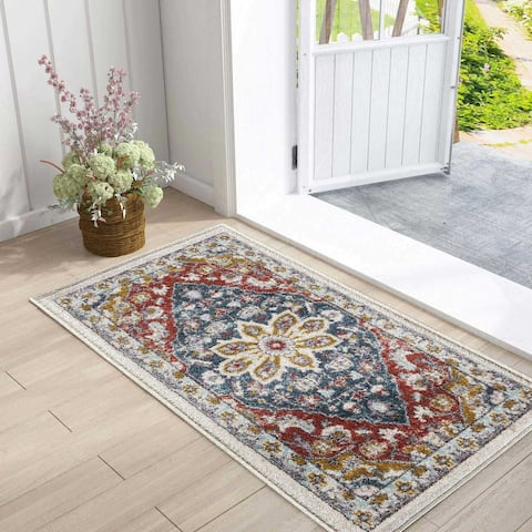 Floral Shabby Chic Blue Area Rug Kitchen Rugs