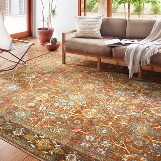 Link to Alexander Home Luciano Distressed Botanical Oriental Indoor/ Outdoor Rug Similar Items in Transitional Rugs