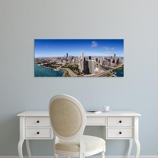 Easy Art Prints Panoramic Images's 'Aerial view, Lake Michigan, Lake Shore Drive, Chicago, Illinois' Canvas Art