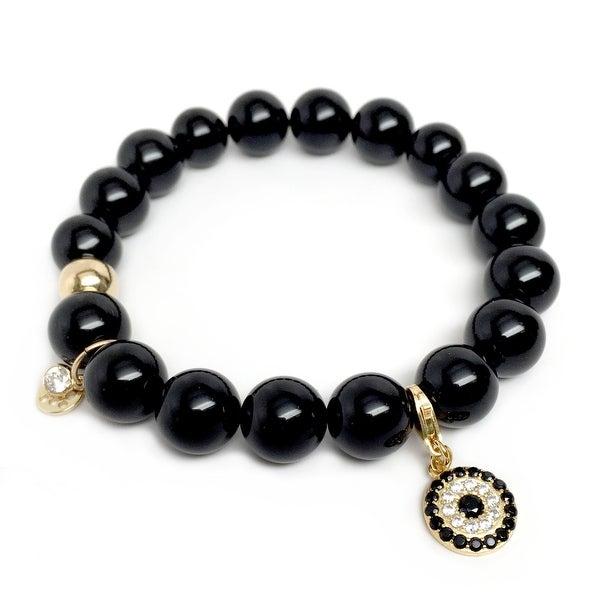 "Black Onyx Emma CZ Lucky Eye 7"" Bracelet"