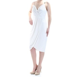 Womens Ivory Sleeveless Below The Knee Tulip Cocktail Dress Size: 10