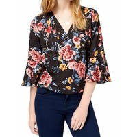 BCX Multi Womens Large Floral Bell Sleeve Blouse
