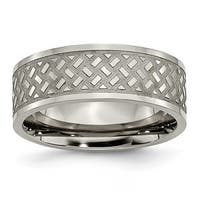 Chisel Brushed and Polished Titanium Ring with Criss Cross Design (8.0 mm)