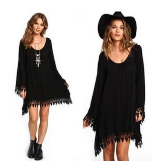 Splice Hollow-out Long-sleeved Dress