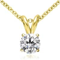 0.75 cttw. 14K Yellow Gold Round Cut Diamond 4-Prong Basket Solitaire Pendant