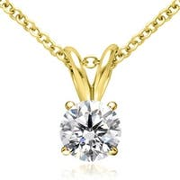 1.00 cttw. 14K Yellow Gold Round Cut Diamond 4-Prong Basket Solitaire Pendant - White H-I