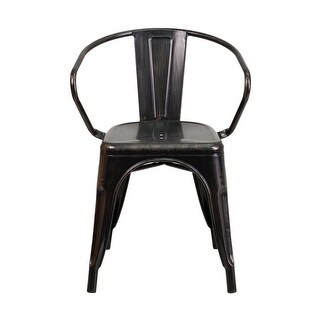 Offex Black-Antique Gold Metal Indoor-Outdoor Chair With Arms [OF-CH-31270-BQ-GG]