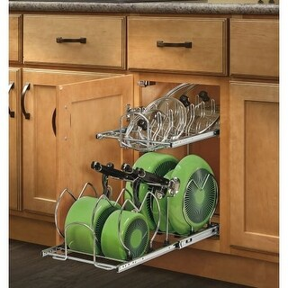 """Rev-A-Shelf 5CW2-1222SC 5CW2 Series 11.75"""" Wide Two Tier Pull Out Cookware Organizer with Soft Close Slides for 12"""" Base Cabinet"""
