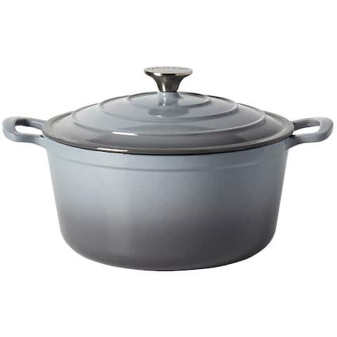 Epicurious 6QT Enamel Cast Iron Covered Round Dutch Oven - Gray